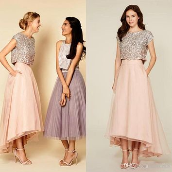 Sparkly Crew Neck Sequins Top Two Pieces Bridesmaid Dresses 2017 Vintage Tea Length Maid Of Honor Dress  B163
