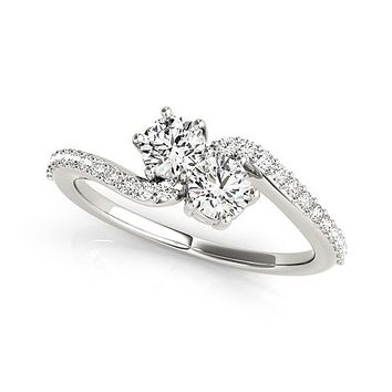 Curved Band Two Stone Diamond Ring in 14K White Gold (3/4 ct. tw.)