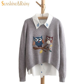 Round Neck Owl Pattern  Casual Pullover Slim Sweaters