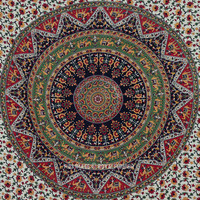 Twin Size Multicolor Bohemian Mandala Cloth Fabric Throw Tapestry Wall Hanging on RoyalFurnish.com