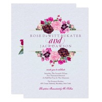 Fuchsia and Plum Floral Wedding Invitations