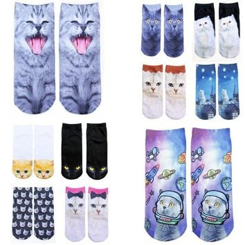1pair cartoon 3D Printed Cotton Skeleton funny socks Terror novelty Animal cat Cute fu
