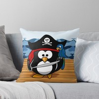 'Pirate Penguin at Sea' Throw Pillow by Gravityx9