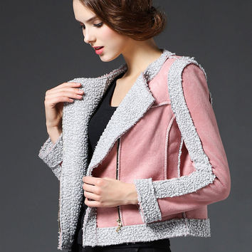 Pink Thick Velvet Suede Stitching Lamb Wool Short Jacket