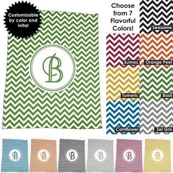 "Chevron Design 50"" x 60"" Plush Throw Blanket / Tapestry Wall Hanging with Personalized Monogram"