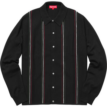 Supreme: Striped Polo Sweater - Black