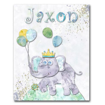 Watercolor nursery elephant wall decor nursery artwork playroom decoration toddler art newborn gift custom baby boy name poster shower gift