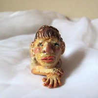 Polymer Clay Sculpture Figurine - Sculpture of a Man Lying Down