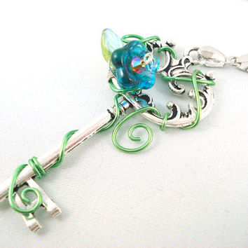 Titania's Secret Garden Key in Blue Necklace by angelyques on Etsy
