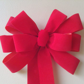 Red Christmas Bow- Red Gift Bow-Red Velvet Bow- Wreath Stair Rail Door Mailbox Tree Topper Decoration
