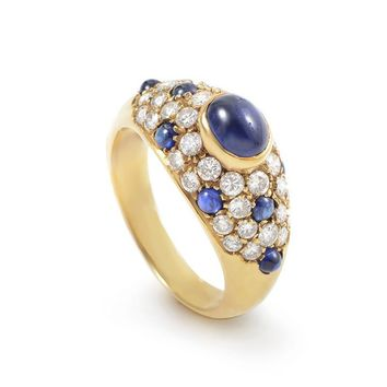Cartier Gold Diamond and Sapphire Ring