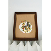 Vintage Hand Embroidered Butterfly Wall Art
