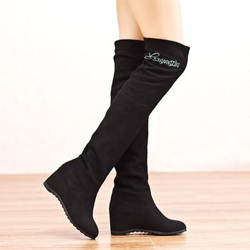 Elastic Velvet Over-Knee Wedge Increased High Boots