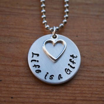 Life is a Gift  Hand Stamped Necklace with by KennabelleDesigns