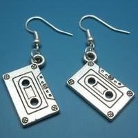 Cassette Tape Earrings Silver by Szeya on Etsy