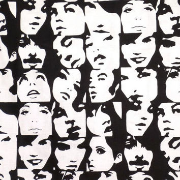 Black and White In Crowd Faces Print Pure Cotton Fabrics--One Yard