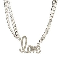 Silver Rhinestone Love Double Chain Necklace by Charlotte Russe