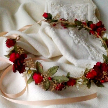 Holiday Weddings Bridal Floral Crown Red Woodland hair Wreath headpiece dried flower garland halo party accessories fall Rustic Chic Winter