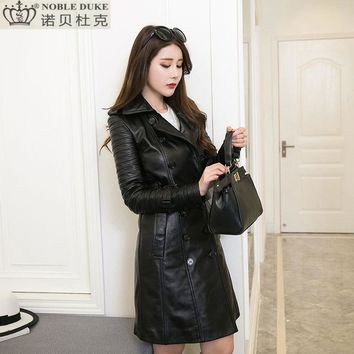 Factory 2017 New Women's Popular Black Long Genuine Leather Jacket Turn-down Collar Slim Fit Real Sheepskin Women Winter Coats