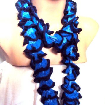 Crochet Ruffle Scarf Navy and Black Lariat Scarf Spring Summer Fall Winter Women Fashion Accessories Special Gift