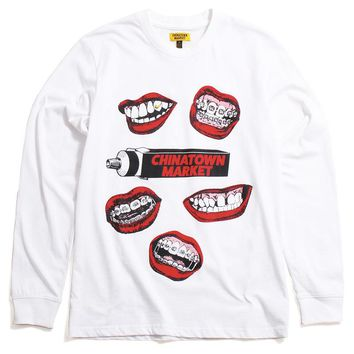 Mouth Longsleeve T-Shirt White