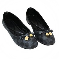 LV Louis Vuitton Fashion New Tartan Bow-Knot Egg Roll Shoes Women Black