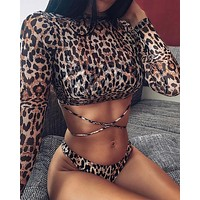 Leopard print three-piece bikini mesh long-sleeved sunscreen swimwear