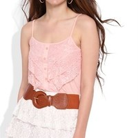 Triple Tiered Floral Lace Mini Skirt with Belted Waist