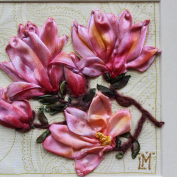 Personalised Anniversary Gift Framed Limited Edition Congratulation Pink Magnolia Floral Textile Wall Hanging Fiber Art Unique Exclusive