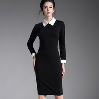 Red black women business office long sleeve casual Bodycon winter Dress Pencil
