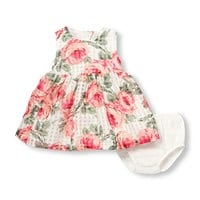 Baby Girls Sleeveless Rose And Check Print Cut-Out Back Woven Dress And Bloomer Set