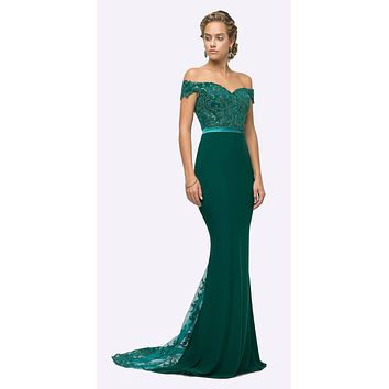 Off the Shoulder Long Emerald Gown Mermaid Lace Bodice