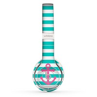 The Teal Striped Pink Anchor Skin Set for the Beats by Dre Solo 2 Wireless Headphones