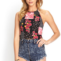 Rose Print Halter Top