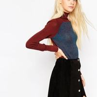ASOS Jumper With Roll Neck In Colourblock With Stitch Detail