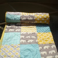 Reserved For Kayla,Baby quilt, baby boy bedding,baby girl quilt,grey,teal,yellow, woodland,rustic,organic,elephant,chevron ,Sun sea & Ellie