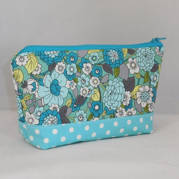 Aqua, Turquoise and Yellow Floral Fabric Makeup Bag With Zipper
