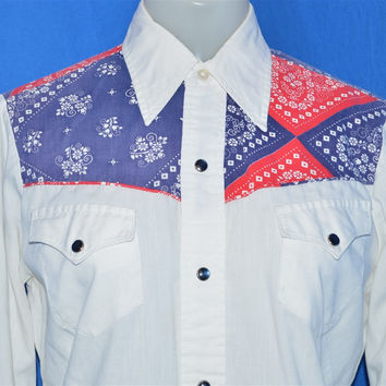 70s H Bar C Bandana Western Pearl Snap Shirt Womens Medium