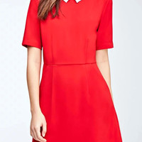 Peter Pan Collar Short Sleeve Mini Skater Dress