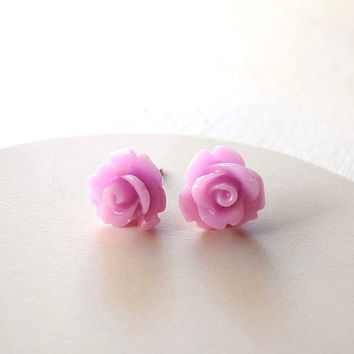 Lilac Rose Earring Studs - Lilac Purple Jewelry - Lilac Flower Earring Posts - Floral Jewelry