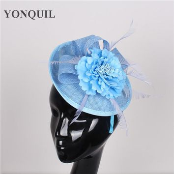 High Sale 15 colors light blue fascinator with silk flower sinamay fascinators hats bridal hair accessories event occasion hats