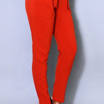 Casual Pleated Pants Red