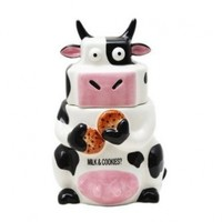 Ceramic Cow Cookie Jar Black / White, 10 inches H