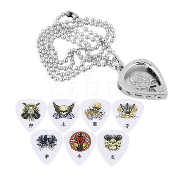 Yibuy Zinc Alloy Silver Heart Shape Guitar Pick Pendant Holder Necklace