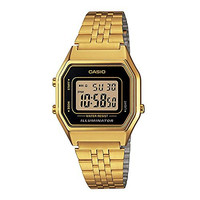 Casio Ladies Mid-Size Gold Tone Digital Retro Watch LA-680WGA-1DF