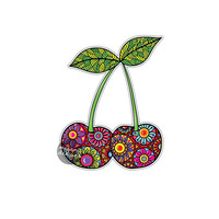Cherry Sticker Colorful Floral Car Decal Laptop Decal Wall Art Food Cherries Fruit Art Yeti Decal Cute Car Sticker Vinyl Vegan Sticker