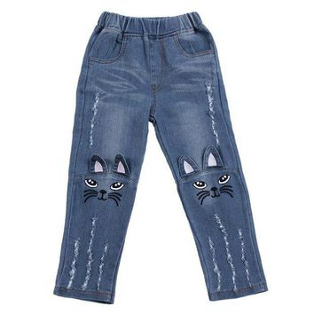 ESB1ON Baby Girls Jeans Children Cute Cartoon Cat Embroidery Denim Long Pants Kids Winter Autumn Casual Trousers