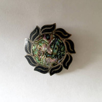 Vintage, Signed A Garcia TAXCO Mexico Sterling Silver, Turquoise and Abalone Inlay Pendant or Pin, Sun Burst Brooch