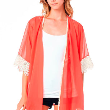 Coral Kimono with Crochet Cuff and Hemline