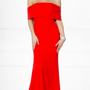 Indie XO Dress You Up Red Short Sleeve Off The Shoulder Bow Back Slit Maxi Dress Evening Gown